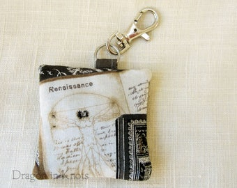 Leonardo Earbud Holder - Vitruvian Man Guitar Pick Pouch, Mini Renaissance Keychain Pocket, old book themed, da vinci keyring