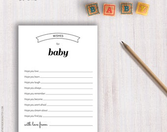 Baby Shower PRINTABLE Black and White games. Baby cards Black white shower Predictions Advice card Book Diaper raffle Thank you card CRFBS03
