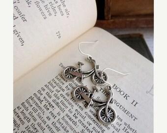 30% OFF SALE Two sided bicycle earrings, silver tone, bike jewelry, bike earrings, Student Transport