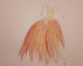 Woman II in reds and oranges Watercolour pastels