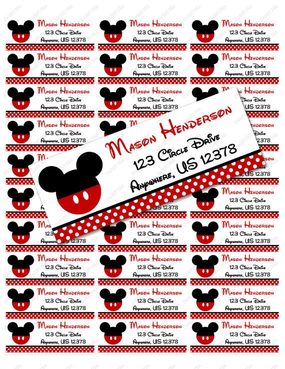 Red Mickey Mouse Address Label Avery 5160 Instant Download