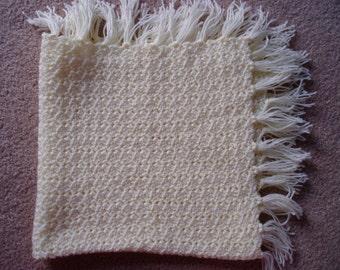 Vintage Yellow Crocheted Baby Blanket
