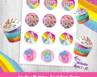 JoJo Siwa Birthday Cupcake Toppers - Matches Party Invitation - Printable File, Instant Download