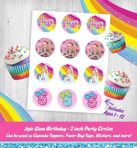 Jojo Siwa Birthday Cupcake Toppers Matches Party Invitation