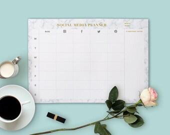Social Media Planner, Blog Planner, Marble Planner, Planner PRINTABLE, Stylish Planner, Gold Planner, Digital download, Desk planner pad