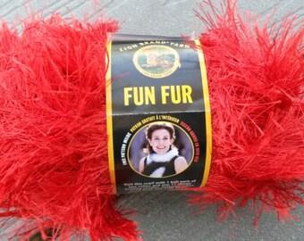 Red Fun Fur, Bright Red Fun Fur, Fun Fur, Knitting