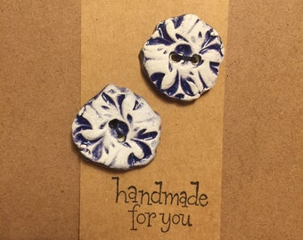 blue textured Stone hand made button