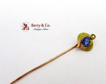 SaLe! sALe! Art Nouveau 14K Gold Stick Pin Blue Glass Gem Enamel 1900