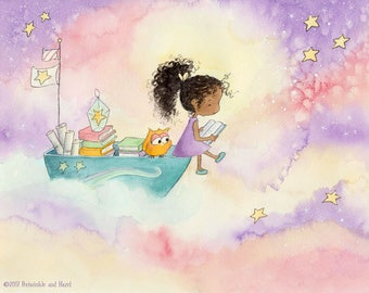 A Book About the Stars - African American Girl with Curly Hair Reading - Fine Art Print