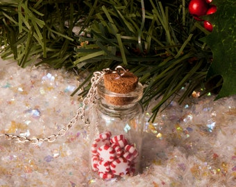 Jar of Peppermints Necklace, Miniature Food Jewelry