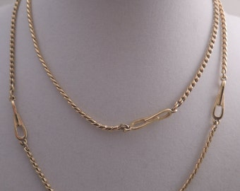 Signed Monet S-Link Gold Tone Chain with Accent Links c1980s