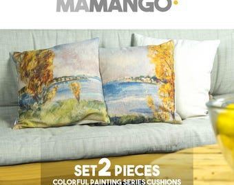 """Unique SET 2 giant pillows with colorful printed details of painting, 16x16"""" or 26x26"""", Cotton cushion cover - Limited Edition of 100"""