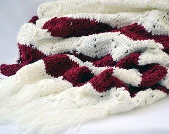 Romantic crochet blanket, wedding gift, chevron blanket, crochet throw, crochet afghan, throw blanket, couch blanket, valentines day gift