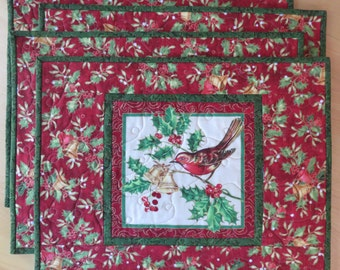 Christmas Or Winter Holiday Set Of 4 Square Quilted Placemats White And Red Cardinal Insulated Dining