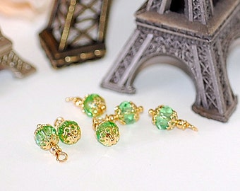 Bead Dangle Petite faceted  Peridot Crystal  Charms supplies jewelry making bead caps