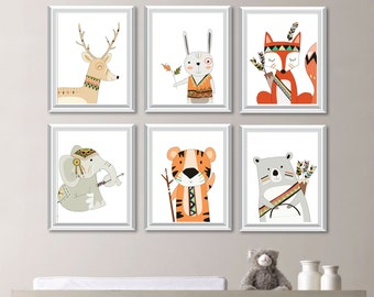 Boy Nursery Art. Tribal Animals. Nursery. Woodland Nursery Art. Woodland Nursery Decor. Forest Animals. Forest Friends. Forest Nursery NS783