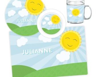 Sunshine Plate, Bowl, Mug or Placemat - Sunshine Dinnerware Set - Personalized Plate for Kids - Kids Melamine Plate Set