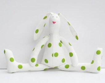 Easter Bunny doll Stuffed bunny rabbit hare toy white green polka dots plush softie stuffed toy baby shower nursery decor