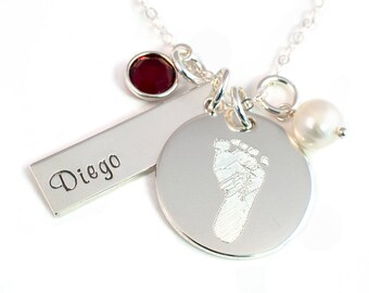 Footprint Necklace with Your Child's Actual Foot Print - Sterling Silver - Personalized Foot Print Necklace - Birthstone and Pearl