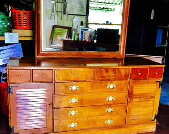 Ethan Allen Baumritter dresser, sideboard, credenza; solid maple with mirror. **Local Pick Up Only**