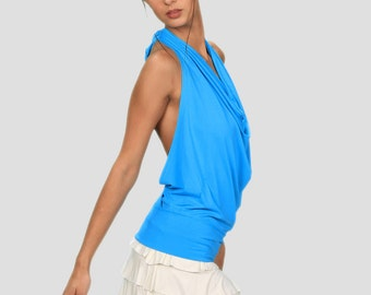 Winona Cowl Front Open Back Halter Top in Turquoise for Womens Fashion  Boho Chic Festival Yoga Wear Wholesale