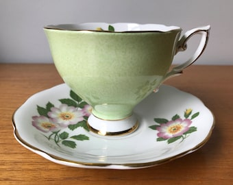 Royal Standard Vintage Tea Cup and Saucer, Purple Flower Green Teacup and Saucer, Bone China, Birthday Gift Idea