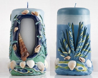 Bathroom accessories - Bathroom candle - Carved Candle - Pillar Candle