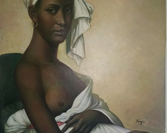 African Woman, Original hand painted oil on canvas