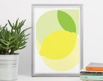 Lemon Printable Art - 8x10 Lemon Circle DIN A4 Yellow Green - Lemon Kitchen Print, Geometry Poster, Kitchen Decor, Geometric Wall Art