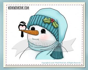 Digital Stamp - Season's Tweetings - Snowman with little bird