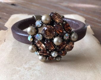 Vintage Regency Rhinestone and Leather Cuff Bracelet. Repurposed.