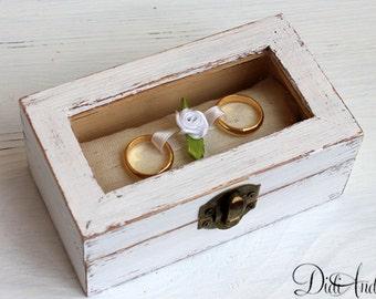 White wedding ring box, ring box, Wedding Ring, Bearer Pillow ring bearer box Rustic Wedding, Wedding, Ring Pillow, Ring Holder, Shabby box