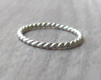 Sterling silver ring twist ring everyday ring Sterling silver stacking rings stack ring stackable ring rope jewelry