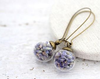 Lavender Earrings, Lavender Drop Earrings, Lavender Jewelry, Purple Flowers Earrings, Real Flowers, Dried Flower Earrings, Terrarium Earring