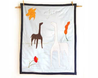 Personalised  safari giraffe baby blanket Safari nursery theme decor Modern baby quilt Blue crib bedding Giraffe safari baby shower decor