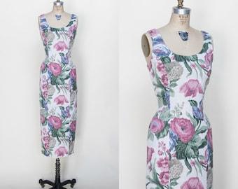 1990s Floral Wiggle Dress /// Vintage Dress Medium