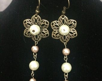 Flower and bead drop earrings