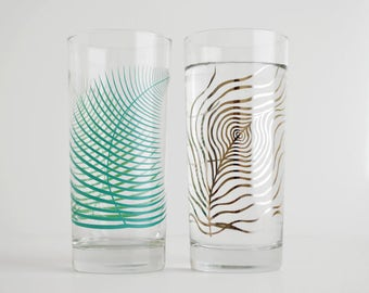 Fern and Feather Glassware Set - Set of 2 Highball Glasses, Silver Feathers Summer Fern Mother's Day Gift Mothers Day Glasses Drinking Glass
