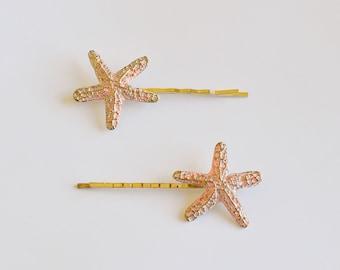 Set Of 2 Pink Starfish Bobby Pin - Hair Clip - Beach Hair - Nautical Accessory - Mermaid Hair - Cute Hair Pin - Hair Accessories