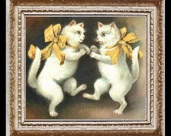 Vintage Dancing Cats Miniature Dollhouse Art Picture 6642