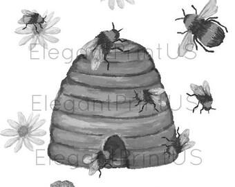Bee Hive Print Watercolor Bee Black White Wall Decor Digital Print