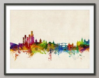 Amsterdam Skyline, Amsterdam The Netherlands Cityscape Holland, Art Print (1046)