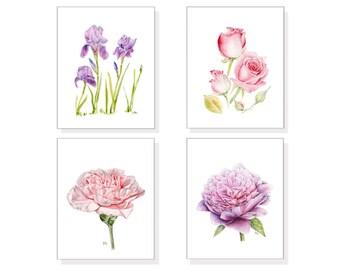 Botanical Print Set Botanical Art Botanical Painting Botanical Watercolor Pink Purple Botanical Flower Art 4: Roses Irises PinkFlower2 Peony