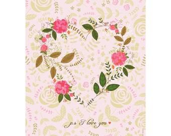Wall art print, Room decor - Flower Heart - Illustration art, Romance