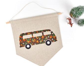 Retro Bus Cloth Pennant Wall Hanging Hippie Room Decor Vintage Floral Fabric VW Camper Van Kids Nursery Art Decoration
