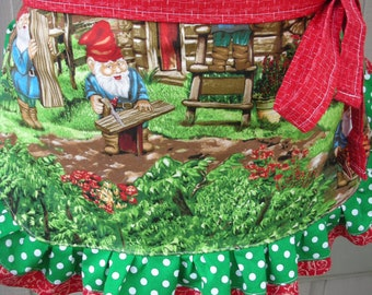 Womens Aprons - Gnome Aprons - Gnome Fabric Aprons - Green Polka Dotted Aprons - Annies Attic Aprons - Etsy Aprons - Gnome Garden Aprons