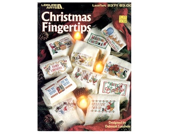 Christmas Cross Stitch Leaflet, Christmas Fingertips Leaflet, Christmas Towels, Santa Cross Stitch, Christmas Patterns, by NewYorkTreasures