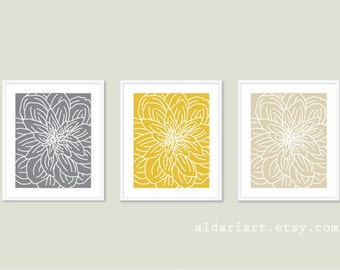 Modern Flower Art Prints - Flower Wall Art Print Set - Spring Decor - Yellow Grey Tan Beige