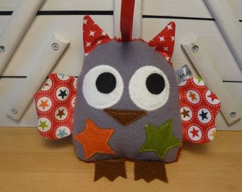 """Grey and Red OWL that is """"pouet pouet"""" - educational toy"""