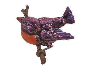 Bird 7/8 inch ( 22 mm ) Susan Clarke Magenta Metal Button
